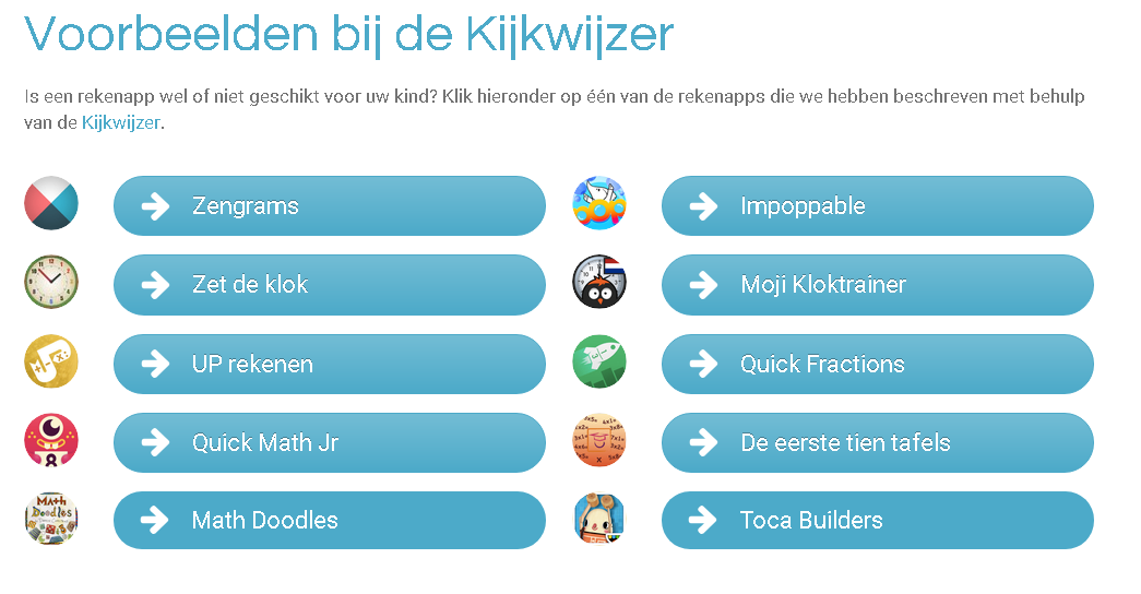 Rekenapps - Kies een goede rekenapp voor je kind met de website Ouder, Kind & Rekenapps
